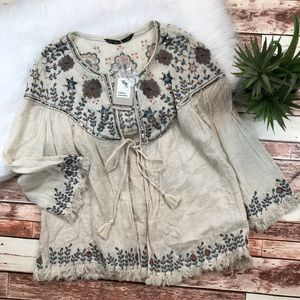 NWT Zara embroidered frayed jacket